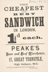 Advert for Peake's Ham & Beef Warehouse